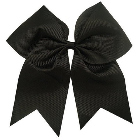 "1 Black Cheer Bow for Girls 7"" Large Hair Bows with Clip Holder Ribbon"