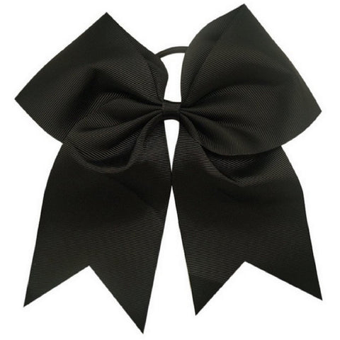 "1 Black Cheer Bow for Girls 7"" Large Hair Bows with Ponytail Holder Ribbon"