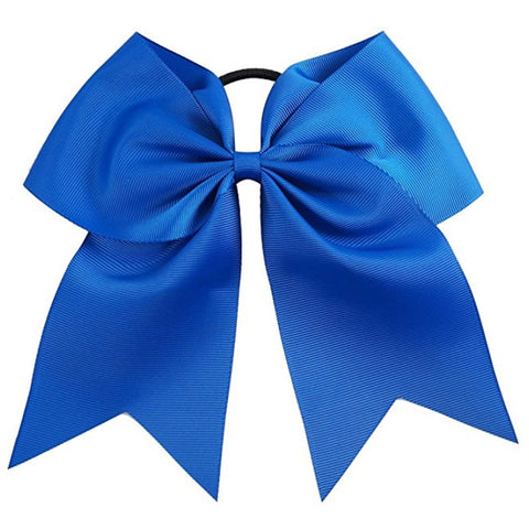 "1 Blue Cheer Bow for Girls 7"" Large Hair Bows with Ponytail Holder Ribbon"