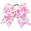 Breast Cancer Awareness Bows Pink Cheer Bow Large Hair Bow with Ponytail Holder Cheerleader Ponyholders Cheerleading Softball Accessories