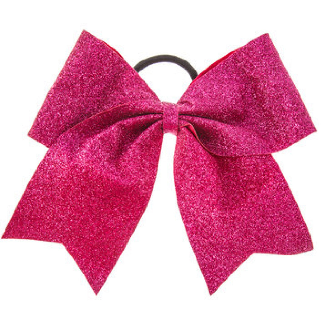 "Hot Pink Glitter Cheer Bow for Girls 7"" Large Hair Bows with Ponytail Holder Ribbon"