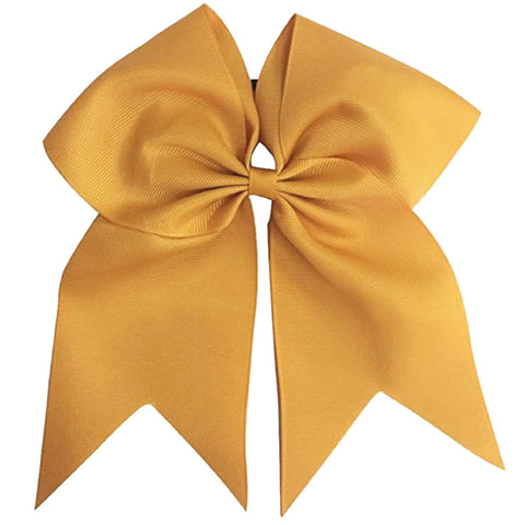 "1 Gold Cheer Bow for Girls 7"" Large Hair Bows with Clip Holder Ribbon"