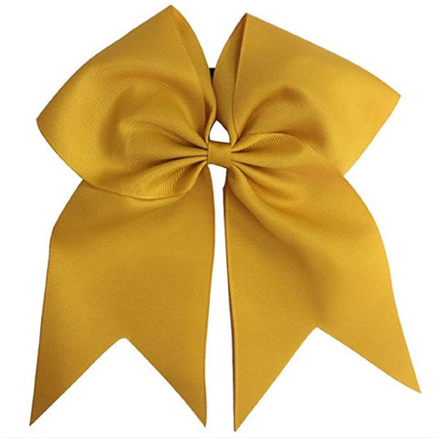 "1 Gold Cheer Bow for Girls 7"" Large Hair Bows with Ponytail Holder Ribbon"