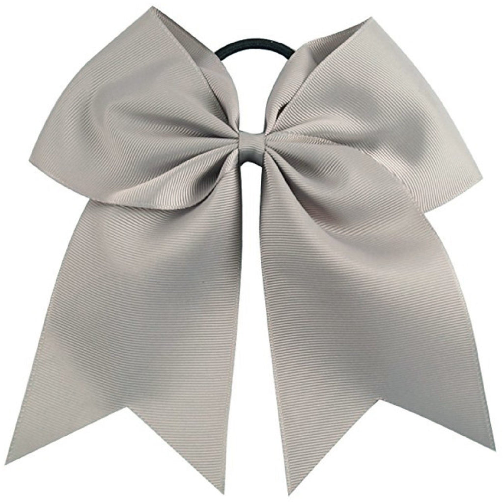 "1 Silver Gray Cheer Bow for Girls 7"" Large Hair Bows with Ponytail Holder Ribbon"