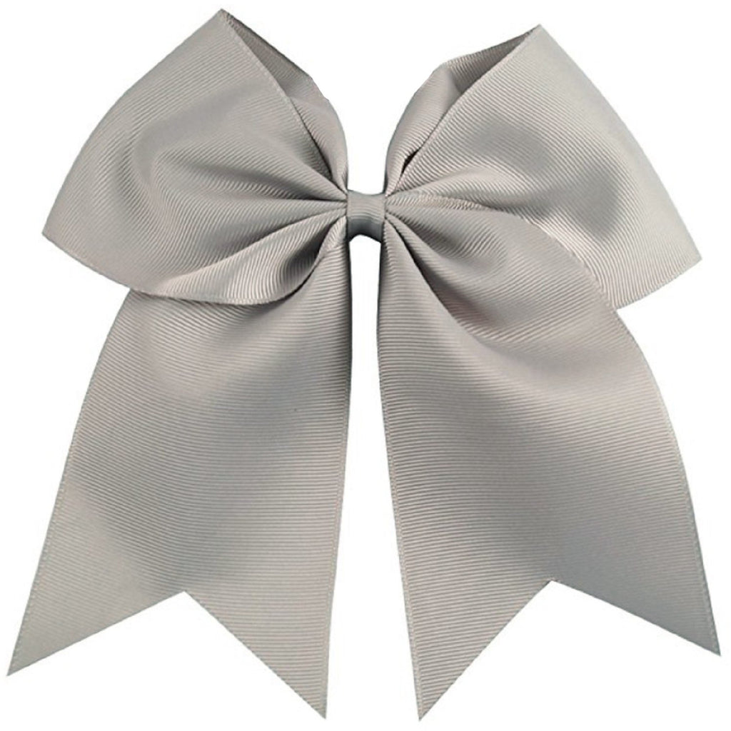 "1 Gray Cheer Bow for Girls 7"" Large Hair Bows with Clip Holder Ribbon"