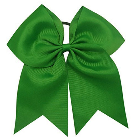 "1 Green Cheer Bow for Girls 7"" Large Hair Bows with Ponytail Holder Ribbon"