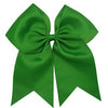 "1 Green Cheer Bow for Girls 7"" Large Hair Bows with Clip Holder Ribbon"