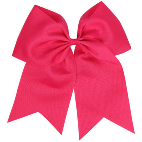 "1 Hot Pink Cheer Bow for Girls 7"" Large Hair Bows with Clip Holder Ribbon"