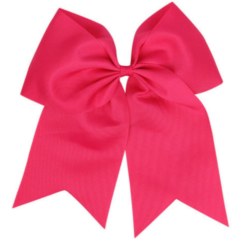 "1 Hot Pink Cheer Bow for Girls 7"" Large Hair Bows with Ponytail Holder Ribbon"