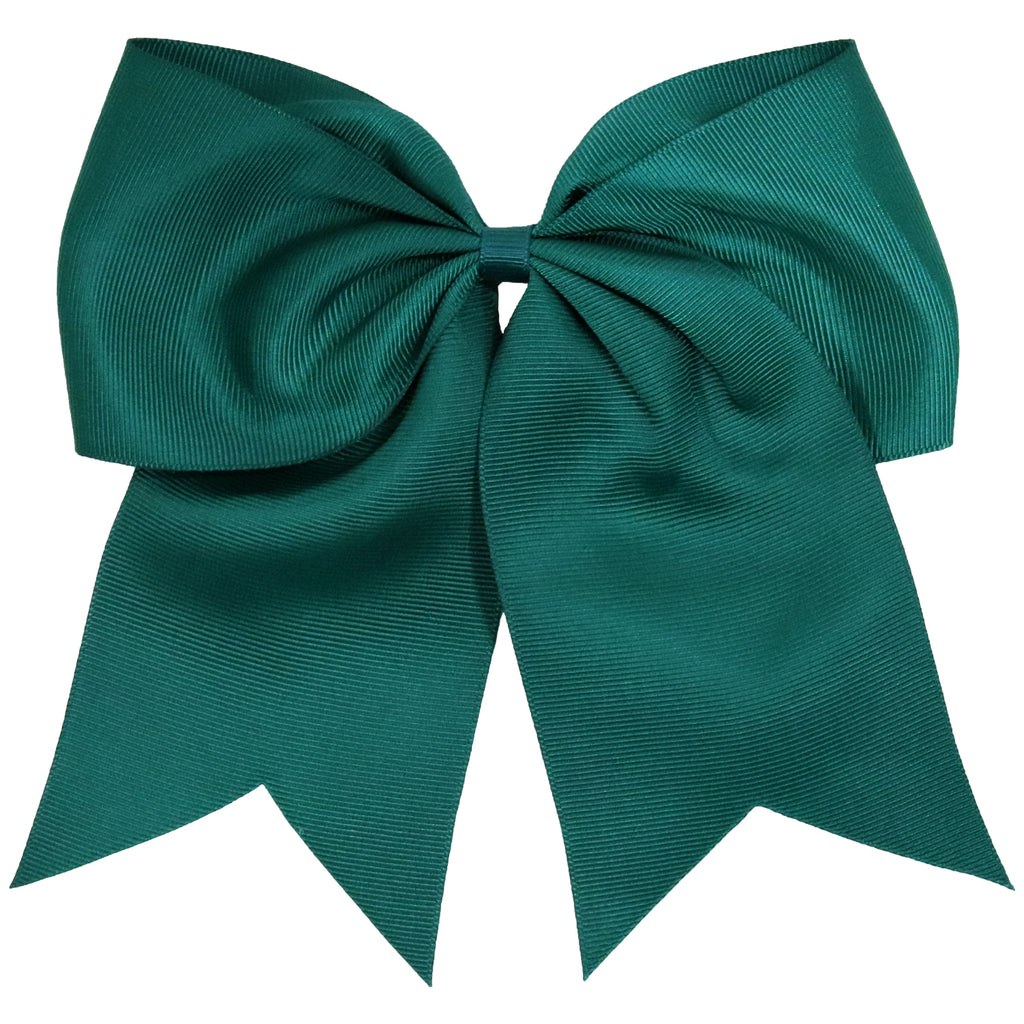 "1 Jade Cheer Bow for Girls 7"" Large Hair Bows with Ponytail Holder Ribbon"