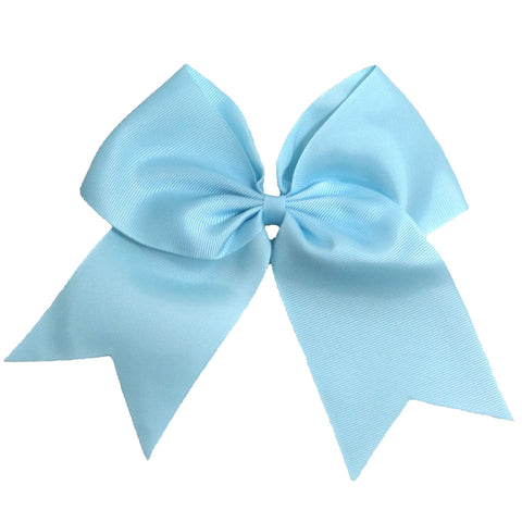 "1 Light Blue Cheer Bow for Girls 7"" Large Hair Bows with Clip Holder Ribbon"