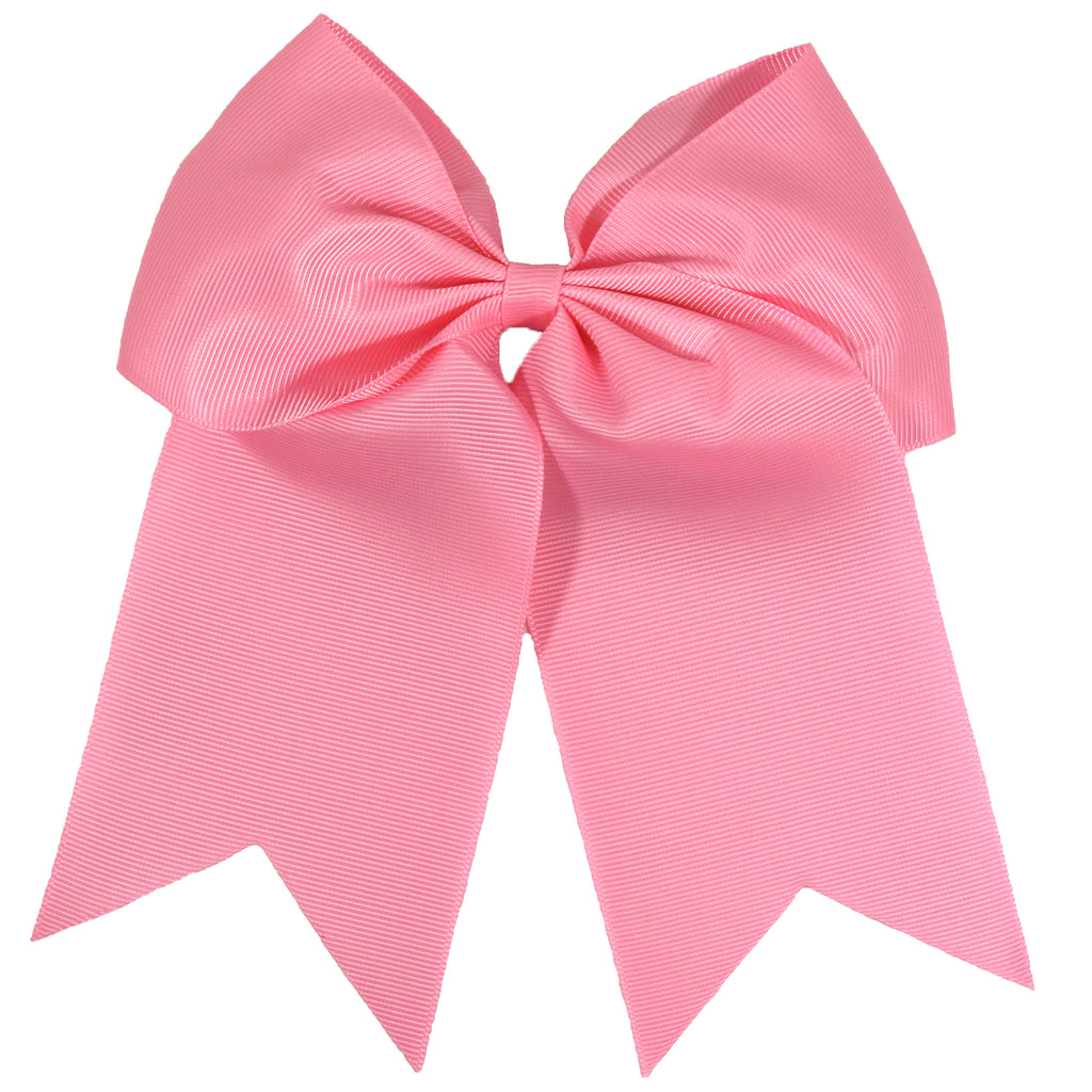 "1 Light Pink Cheer Bow for Girls 7"" Large Hair Bows with Clip Holder Ribbon"