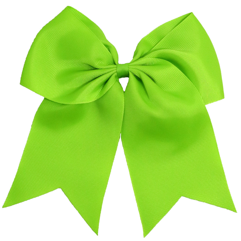 "1 Lime Cheer Bow for Girls 7"" Large Hair Bows with Clip Holder Ribbon"