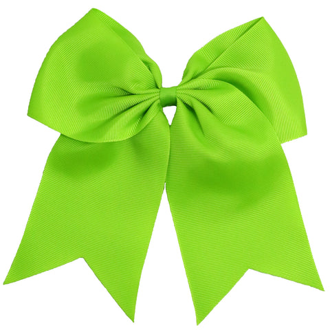 "1 Lime Cheer Bow for Girls 7"" Large Hair Bows with Ponytail Holder Ribbon"