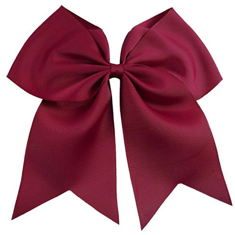 "1 Maroon Cheer Bow for Girls 7"" Large Hair Bows with Clip Holder Ribbon"