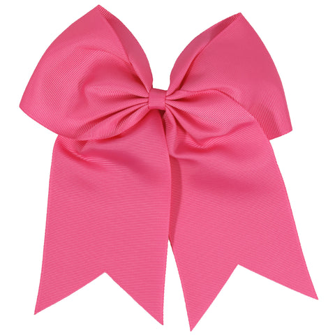 "1 Medium Pink Cheer Bow for Girls 7"" Large Hair Bows with Clip Holder Ribbon"