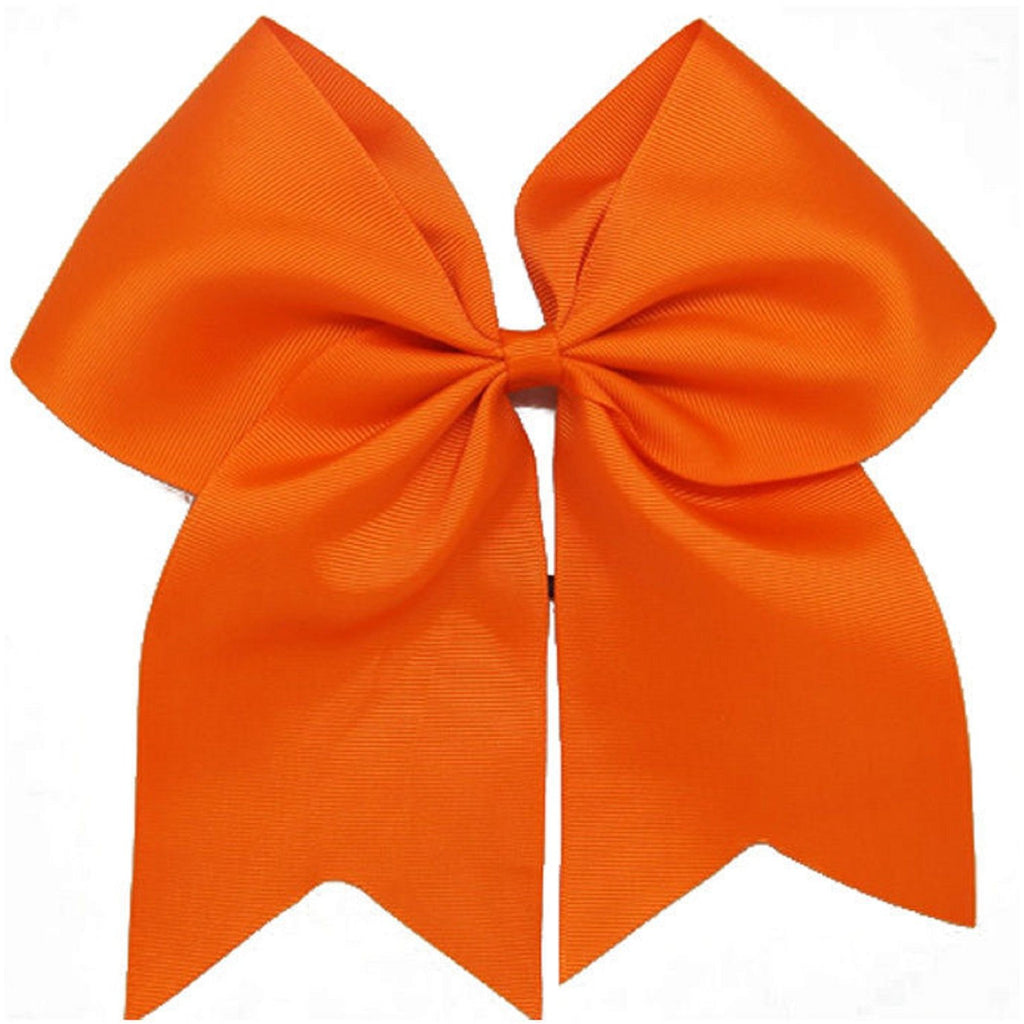 "1 Orange Cheer Bow for Girls 7"" Large Hair Bows with Ponytail Holder Ribbon"
