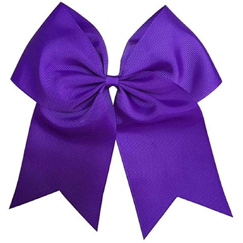 "1 Purple Cheer Bow for Girls 7"" Large Hair Bows with Ponytail Holder Ribbon"