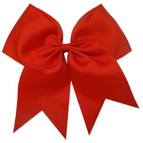"1 Red Cheer Bow for Girls 7"" Large Hair Bows with Clip Holder Ribbon"
