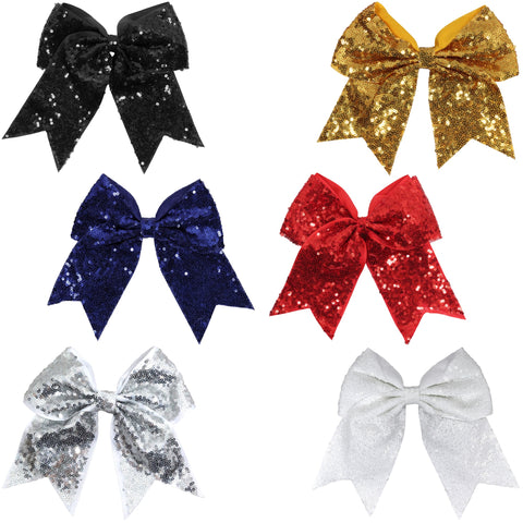"Sequin Glitter Cheer Bow for Girls 7"" Large Hair Bows with Ponytail Holder Ribbon"