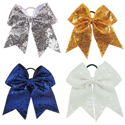 "Sequin Cheer Bow for Girls 7"" Large Hair Bows with Ponytail Holder Ribbon"