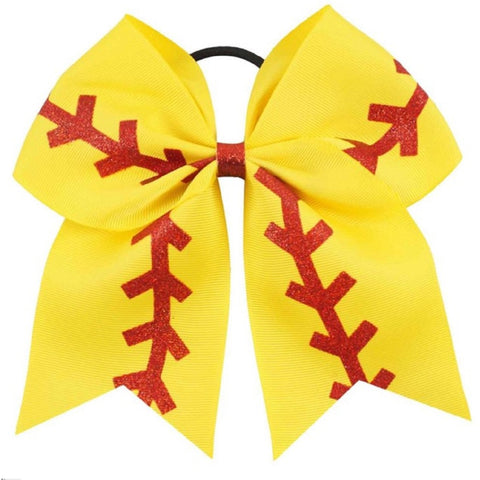 "1 Softball Bow for Girls 7"" Large Hair Bows with Ponytail Holder Ribbon"