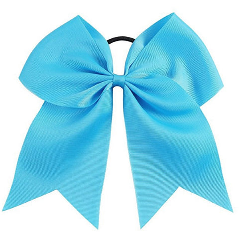 "1 Teal Cheer Bow for Girls 7"" Large Hair Bows with Ponytail Holder Ribbon"