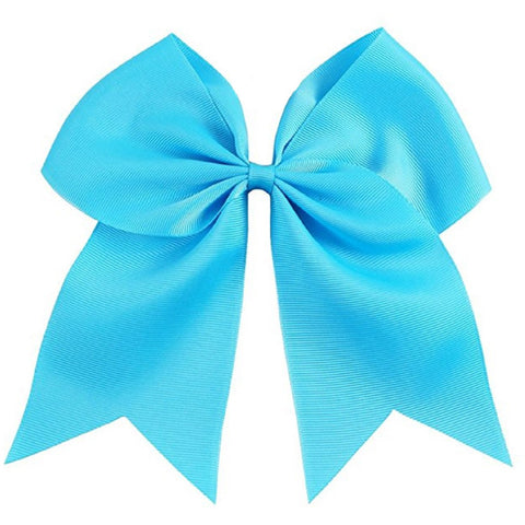 "1 Teal Cheer Bow for Girls 7"" Large Hair Bows with Clip Holder Ribbon"