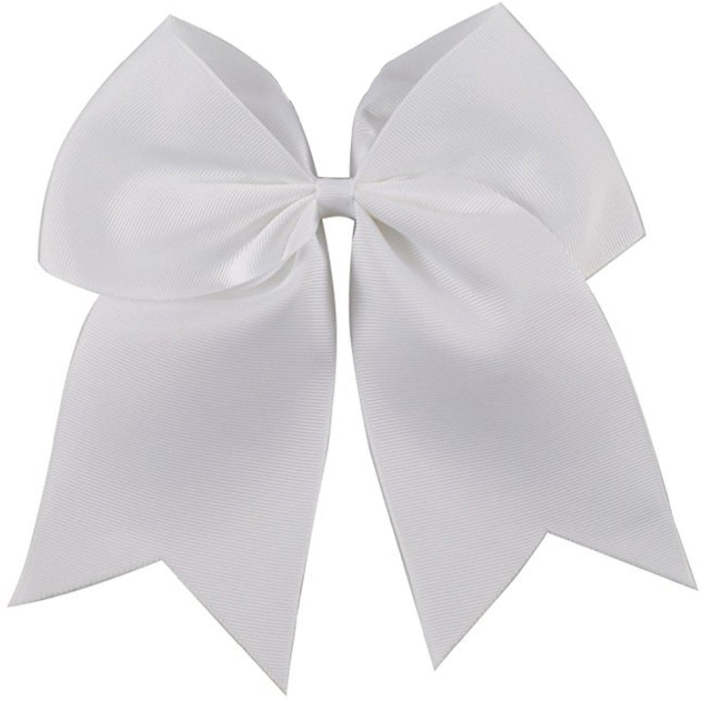 "1 White Cheer Bow for Girls 7"" Large Hair Bows with Clip Holder Ribbon"