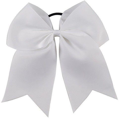 "1 White Cheer Bow for Girls 7"" Large Hair Bows with Ponytail Holder Ribbon"