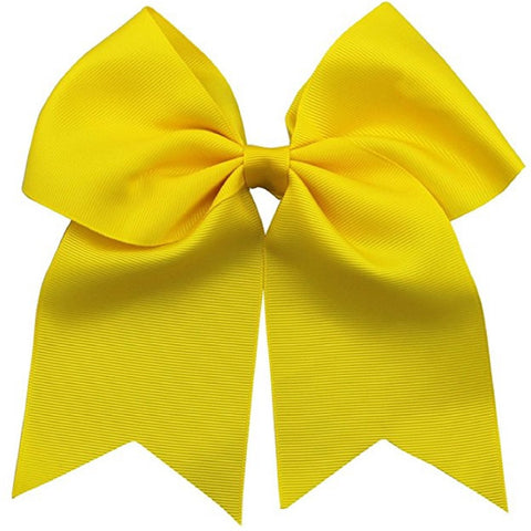 "1 Yellow Cheer Bow for Girls 7"" Large Hair Bows with Ponytail Holder Ribbon"