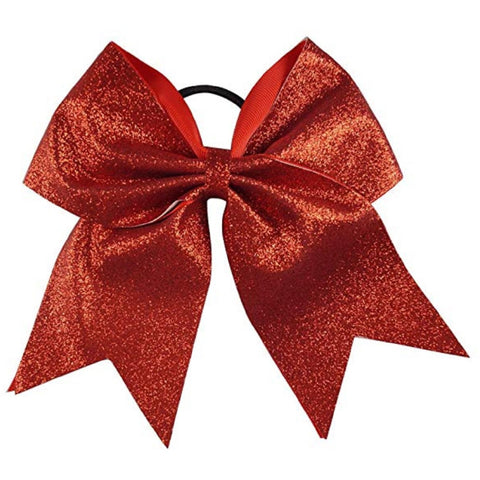 "Red Glitter Cheer Bow for Girls 7"" Large Hair Bows with Ponytail Holder Ribbon"