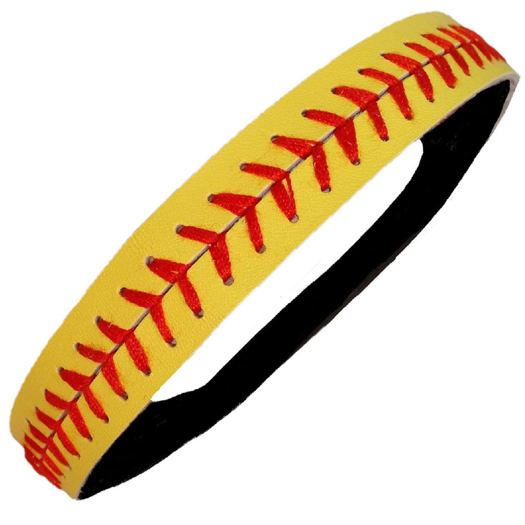 Softball Headband Non Slip Leather Sports Head Bands Yellow Red