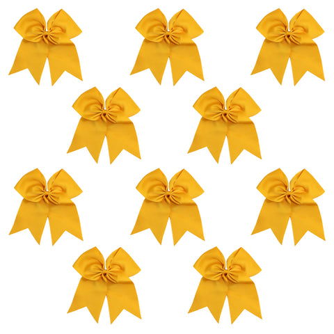 "10 Athletic Gold Cheer Bows for Girls 7"" Large Hair Bows with Clip Holder Ribbon"