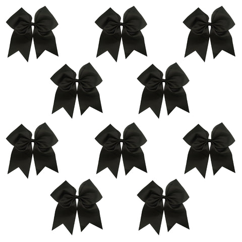 "10 Black Cheer Bows for Girls 7"" Large Hair Bows with Clip Holder Ribbon"