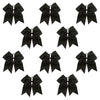 10 Black Cheer Bows Large Hair Bow with Ponytail Holder Cheerleader Cheerleading Softball Accessories