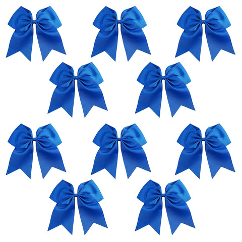 "10 Blue Cheer Bows for Girls 7"" Large Hair Bows with Clip Holder Ribbon"