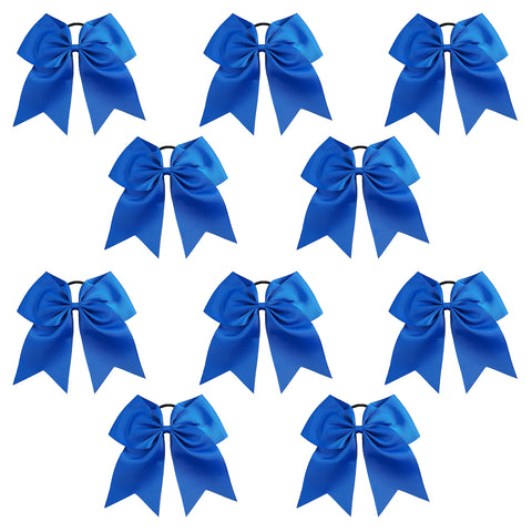 10 Blue Cheer Bows Large Hair Bow with Ponytail Holder Cheerleader Ponyholders Cheerleading Softball Accessories
