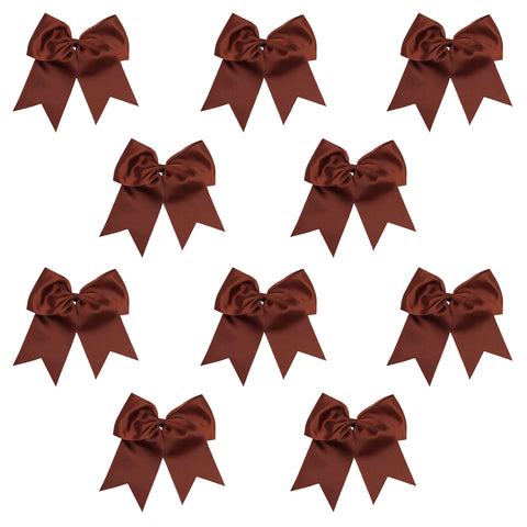 10 Brown Cheer Bows Large Hair Bows with Ponytail Holder Cheerleader Ribbon Cheerleading Softball Accessories