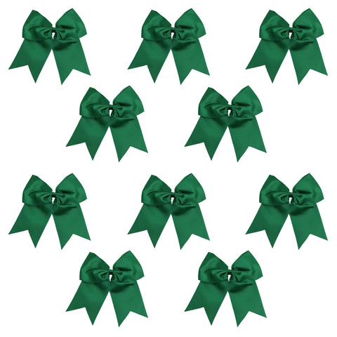 "10 Forest Cheer Bows for Girls 7"" Large Hair Bows with Clip Holder Ribbon"