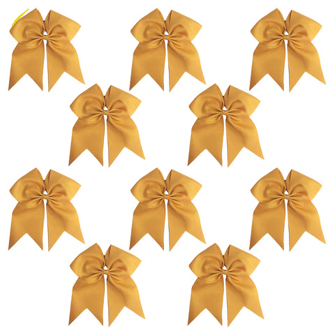 "10 Gold Cheer Bows for Girls 7"" Large Hair Bows with Clip Holder Ribbon"