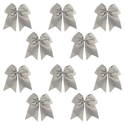 "10 Gray Cheer Bows for Girls 7"" Large Hair Bows with Clip Holder Ribbon"