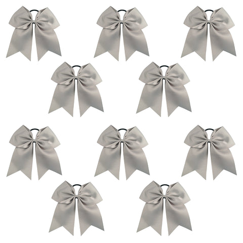 10 Gray Cheer Bows Large Hair Bow with Ponytail Holder Cheerleader Ponyholders Cheerleading Softball Accessories