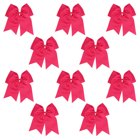 "10 Hot Pink Cheer Bows for Girls 7"" Large Hair Bows with Clip Holder Ribbon"