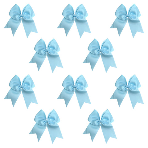 10 Light Blue Cheer Bows Large Hair Bow with Ponytail Holder Cheerleader Ponyholders Cheerleading Softball Accessories
