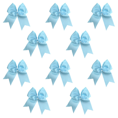 "10 Light Blue Cheer Bows for Girls 7"" Large Hair Bows with Clip Holder Ribbon"