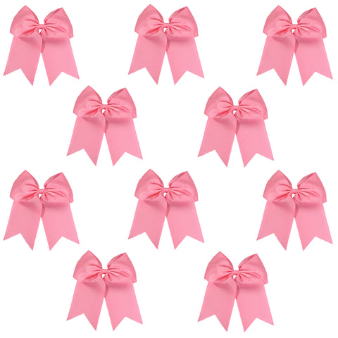 "10 Light Pink Cheer Bows for Girls 7"" Large Hair Bows with Clip Holder Ribbon"