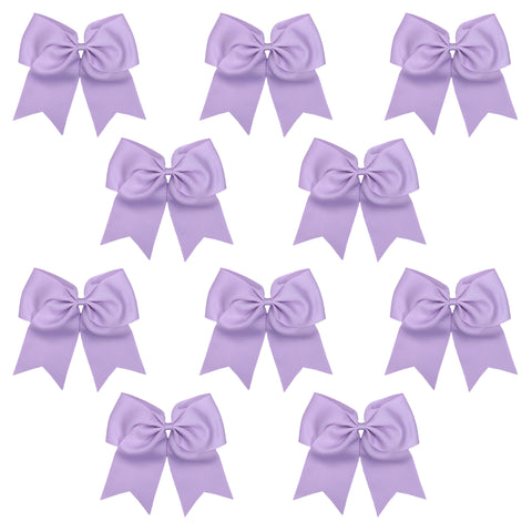 10 Light Purple Cheer Bows Large Hair Bow with Ponytail Holder Cheerleader Ponyholders Cheerleading Softball Accessories