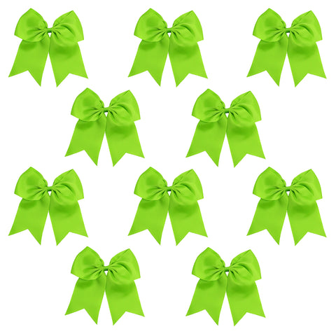 "10 Lime Cheer Bows for Girls 7"" Large Hair Bows with Clip Holder Ribbon"