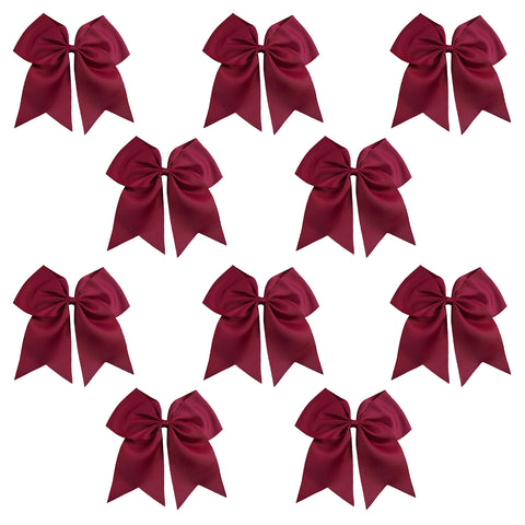 "10 Maroon Cheer Bows for Girls 7"" Large Hair Bows with Clip Holder Ribbon"